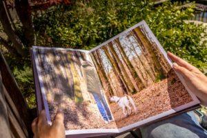 Hände halten ein aufgeschlagenes Fotobuch
